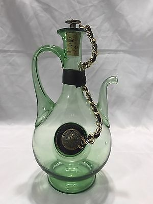 VINTAGE HAND BLOWN GLASS PITCHER DECANTER WITH ICE TUBE CORKS with CHAIN