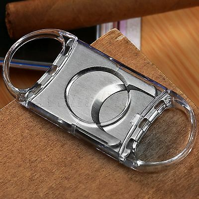 Plastic Pocket Cigar Cutter Knife Stainless Steel Double Blades Shears Scissors