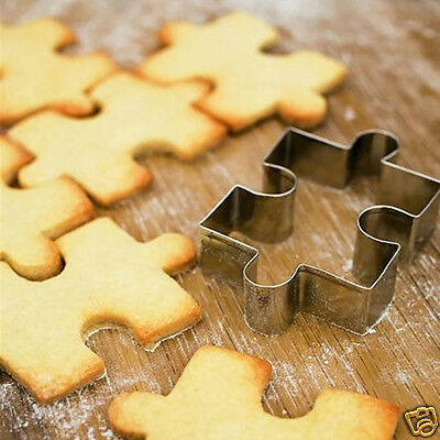 4Pcs Different Patterns Stainless Steel Puzzle Shaped DIY Biscuit Cookie Mold