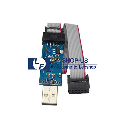 New 3.3V/5V USBasp USBISP AVR 10-Pin USB Programmer 51 ATMEGA8 Cable Adapter