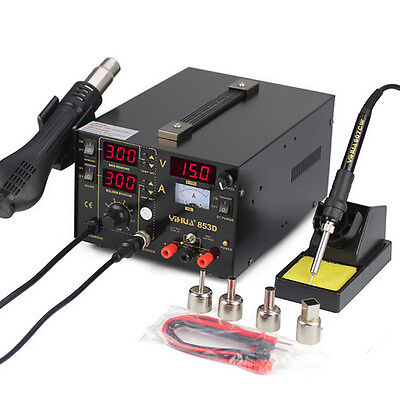 853D Soldering Rework Station 3 in 1 Solder Iron SMD Hot Air DC Power Supply Kit
