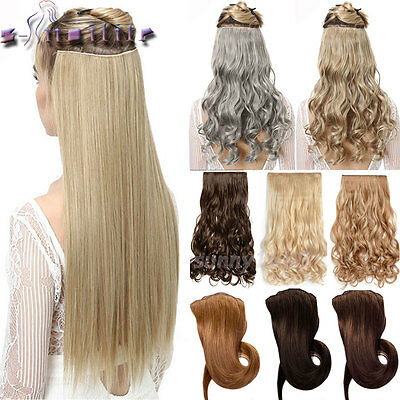 100% Real Natural One Piece Clip in Hair Extensions Wavy as remy human hair hn20