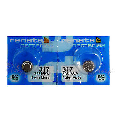 2 x Renata 317 Silver oxide batteries 1.55V SR516W Watch 0% Mercury EXP:2019