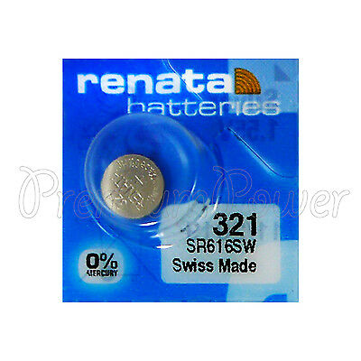 1 x Renata 321 Silver oxide battery 1.55V SR616W Watch SR65 0% Mercury EXP:2019