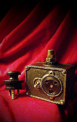 """Vintage Industrial Switch Electrical Socket """"Crabtree"""" Cast Iron Three Pin Plug"""