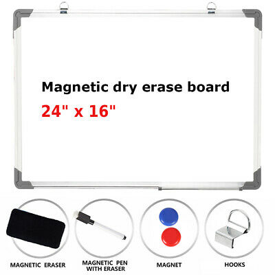 "24""x16""Planner Writing Magnetic Whiteboard Office Dry Wipe Eraser Dawing w/Board"