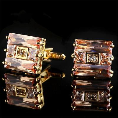 Gold Plated Cufflinks With Morganite Gems - Gift Box - Free Uk P&p......w1379
