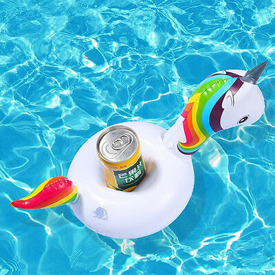 Inflatable Unicorn Floating Drink Can Bottle Holder Beach Pool Bath Water Party