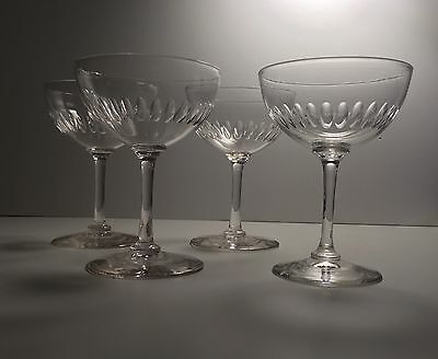 4 Stunning Late Georgian Victorian Champagne Saucers Lens Cut Drinking Glasses.