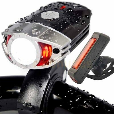 Premium Set LED Bike Light Rechargeable Helmet Headlight + Rear Lamp Waterproof