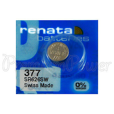 1 x Renata 377 Silver oxide battery 1.55V SR626SW SR66 376 Watch 0% Mercury