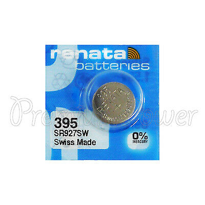 1 x Renata 395 Silver oxide battery 1.55V SR927W SR57 399 Watch 0% Mercury