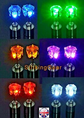 Pair LED Flashing Light-Up Magnetic Earrings Studs Diamont Style 8 Colours SALE!