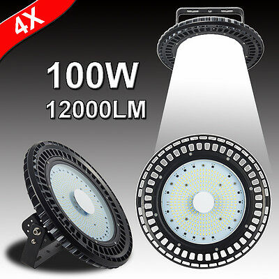 4X 100W UFO LED High Bay Light Warehouse Industrial Factory Commercial Lamp 240V