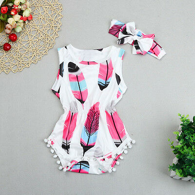 2PCS Infant Kids Baby Girls Sleeveless Feather Romper Jumpsuit+Headband Outfits