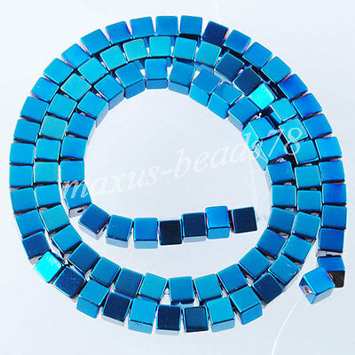 "Blue Ray Hematite Gemstone Square Cube 4mm Loose Beads 15.5"" Strand MG1301"