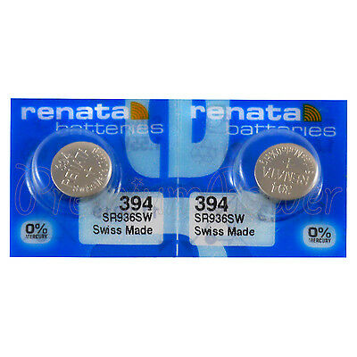 2 x Renata 394 Silver oxide batteries 1.55V SR936W SR45 V394 Watch 0% Mercury