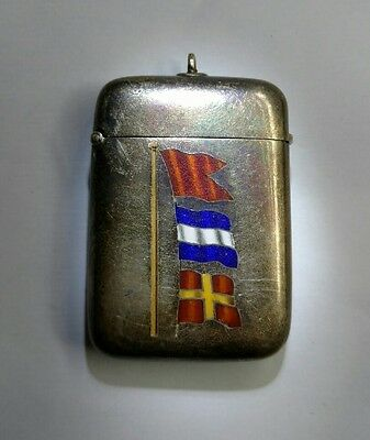 Silver vesta Case with enamel flags Antique