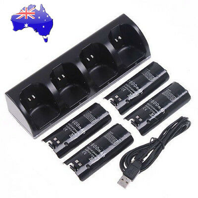 4X Battery Packs for Nintendo WII Remote Controller Charging Dock Station AU