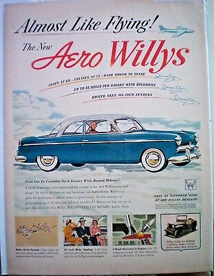 VINTAGE 1952 advertising AERO WILLYS automobile car willys overland motors OH