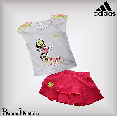 Adidas Disney Minnie Mouse Baby Girls Outfit T-Shirt Skirt Set Age 3-6 Months