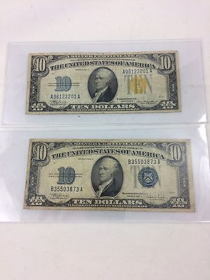 1934 A C Yellow Seal $10 Ten Dollars Silver Certificate North Africa  (estate)
