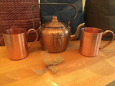 NEW! Ketel One Vodka Copper Pot Tea Kettle Moscow Mule Mugs RARE man cave Bar