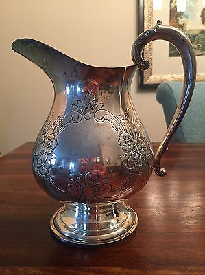 Hand chased Silver Plate Pitcher By Prill Silver Co. No Mono