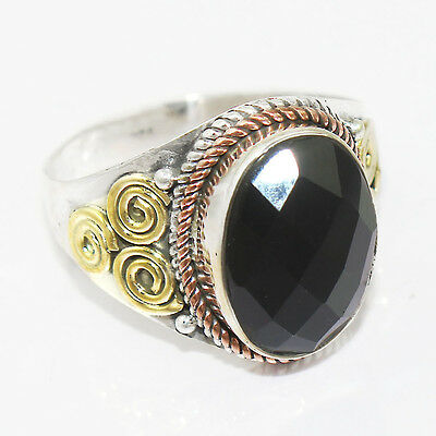 Two Tone-Black Cut Stone 925 Sterling Silver Ring Jewelry Size-9 SR-30790