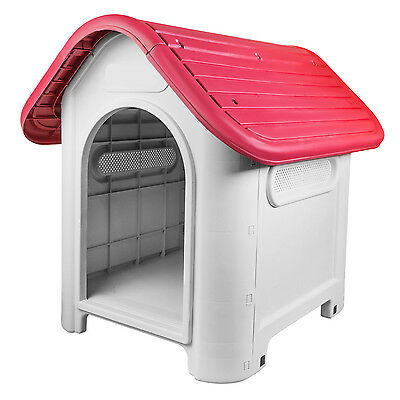RayGar Plastic Dog Kennel Pet Cat House Weatherproof Indoor Outdoor Shelter Red