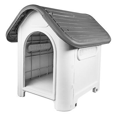 RayGar Plastic Dog Kennel Pet Cat House Weatherproof Indoor Outdoor Shelter Grey