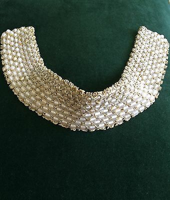 Vintage Costume Pearl Woven Glass Bead Collar