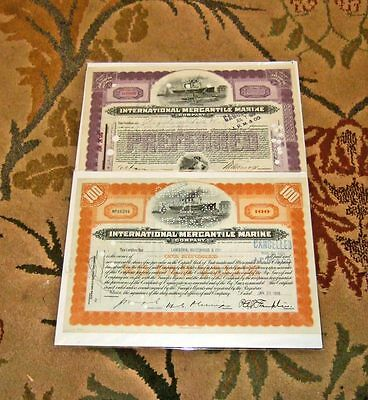 International Mercantile Marine stock certificates (2 different) 1919 & 1938
