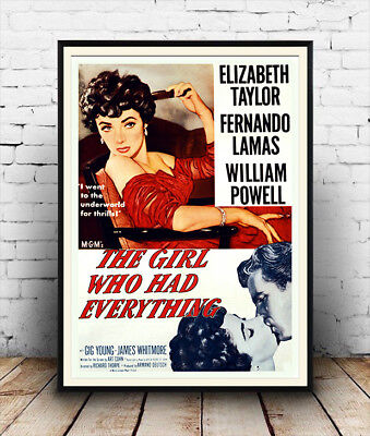 Girl who had everything : Vintage Movie advert, Wall art , poster, Reproduction.