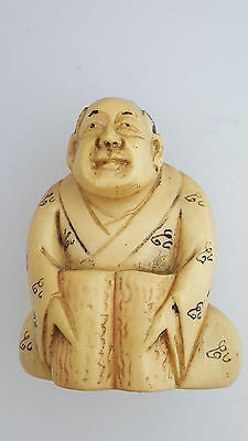 Signed Antique Japanese Netsuke Hand Carved Open Shinto Book LOOK!