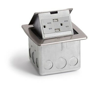 Lew Electric PUFP-CT-SS-2USB Kitchen Counter Pop Up 15A USB Outlet, Stainless