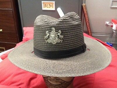 Vintage Police State Trooper Hat With Badge Lightweight Summer Issue