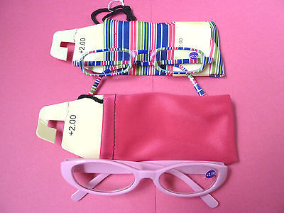 Lot 2 Reading Glasses With Case/readers/2.0/pink/multi/new