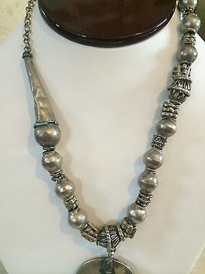 Antique Yemenite Silver, Bedouin, Near Eastern, Mother Theresa Coin Necklace