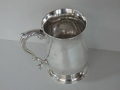 GEORGE II SOLID STERLING SILVER ONE PINT MUG / TANKARD - LONDON 1753 - 371g