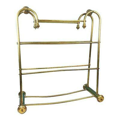Vintage Hollywood Regency Brass Towel Quilt Blanket Floor Stand Rack