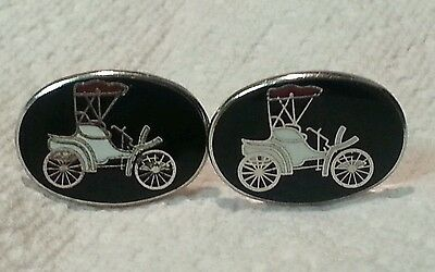 Vintage Carriage Buggy Black w Silver Tone Toggle Back Cufflinks Men's / Woman's