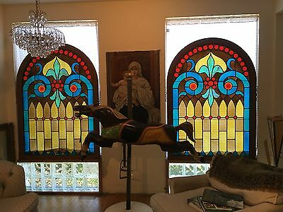 """5'2"""" Hi x 44"""" W large arched pair architectural salvage stained glass windows"""