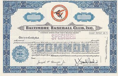Baltimore Baseball Club Specimen Stock Certificate...baltimore Orioles!