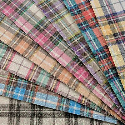 Tartan Fine Glitter Fabric A4 Or A5 Sheets Felt Backed Gingham For Bows & Crafts