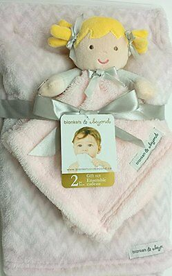 Blankets And & Beyond Baby Girls Security Blanket Set Pink Blonde Doll Chevron