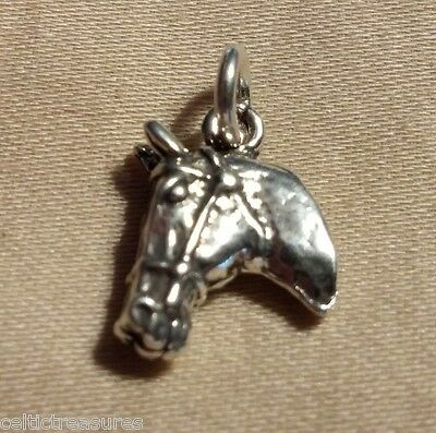 .925 Sterling Silver 13mm Horse head 3D Charm Western