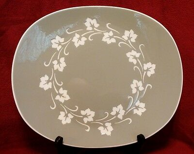 Harkerware Moss Green Oval Serving Plate with Leaf Pattern Made in USA
