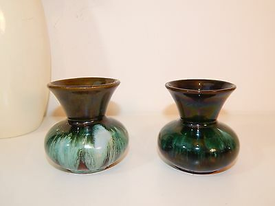 Original Vintage Canadian Blue Mountain Pottery - Pair Of Small Vases