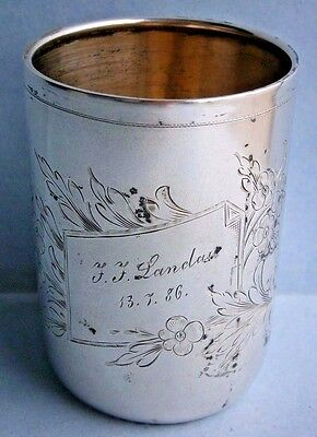 19th Century European Silver Glass engraved in 1886, .800 Silver